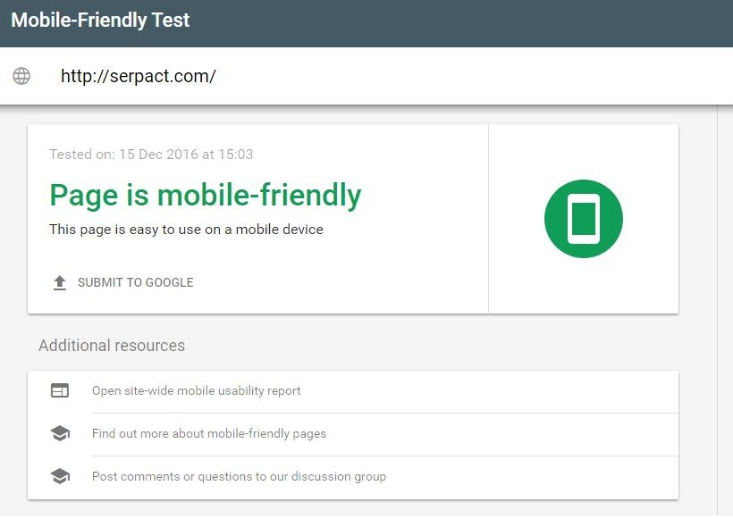 google search console for mobile friendiless
