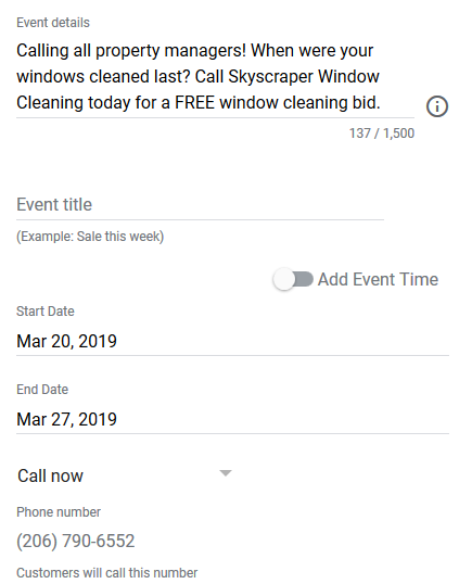 Choose the start date and time of the event or post, and the end date and time.